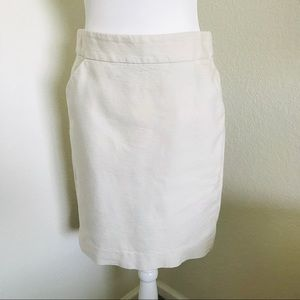 J. Crew The No. 2 Pencil Skirt Cream Cotton